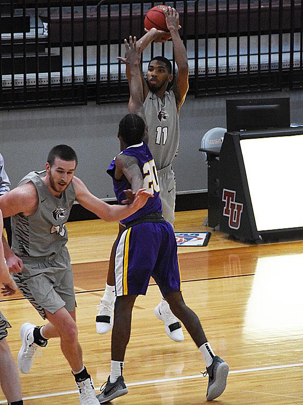 Isaiah Specks. The Trinity men's basketball team lost to Mary Hardin-Baylor 79-68 on Wednesday, Nov. 14, 2018.