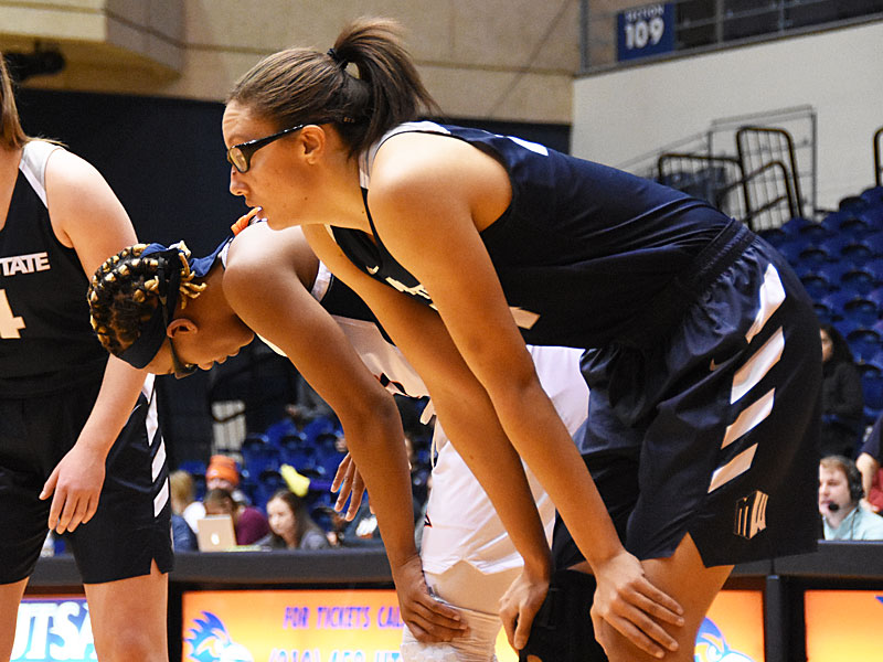 Former Brennan basketball player Deja Mason is the career blocks leader at Utah State. - photo by Joe Alexander
