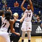 Karrington Donald. The Utah State women's basketball team beat UTSA 62-56 on Wednesday, Dec. 5, 2018, at the UTSA Convocation Center. - photo by Joe Alexander