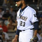 Brewers pitcher Jeremy Jeffress, in a rehab assignment with the Missions, pitches against the Memphis Redbirds on April 9 at Wolff Stadium. - photo by Joe Alexander