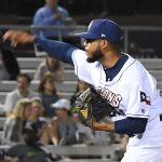 Brewers pitcher Jeremy Jeffress, in a rehab assignment with the Missions, pitches against the Memphis Redbirds on April 10 at Wolff Stadium. - photo by Joe Alexander
