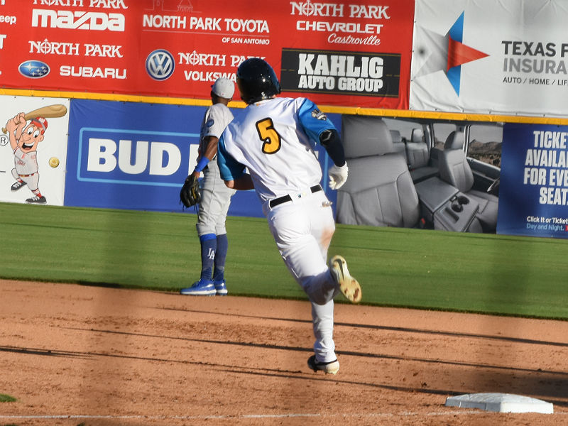 The Missions' Cory Spangenberg rounds first base after hitting a home run in the first game of Thursday's doubleheader against the Dodgers at Wolff Stadium. - photo by Joe Alexander