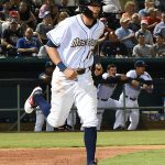 Lucas Erceg leads off the bottom of the ninth with a walk in the Missions' 6-5 victory over the Redbirds on Tuesday at Wolff Stadium. - photo by Joe Alexander