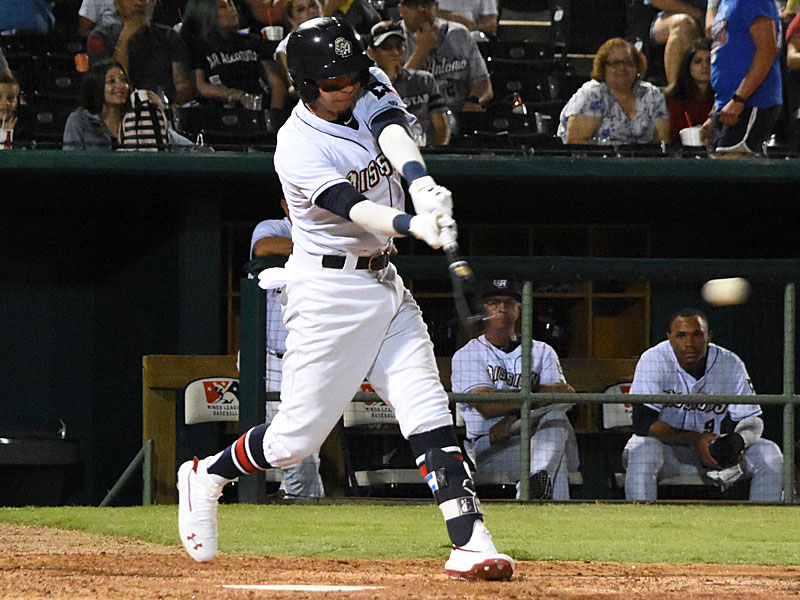 Mauricio Dubon hits a walk-off two-run single in the bottom of the ninth in the Missions' 6-5 victory over the Redbirds on Tuesday at Wolff Stadium. - photo by Joe Alexander