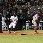 Lucas Erceg scores the tying run in the ninth inning in the Missions' 6-5 victory over the Redbirds on Tuesday at Wolff Stadium. - photo by Joe Alexander
