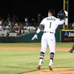 Mauricio Dubon celebrates after driving in the tying and winning run in the ninth inning in the Missions' 6-5 victory over the Redbirds on Tuesday at Wolff Stadium. - photo by Joe Alexander