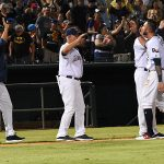 Missions manager Rick Sweet congratulates the team after their 6-5 victory over the Redbirds on Tuesday at Wolff Stadium. - photo by Joe Alexander