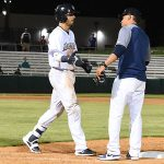 The Missions' Jacob Nottingham draws a ninth-inning walk in the Missions' 6-5 victory over the Memphis Redbirds on Wednesday at Wolff Stadium. - photo by Joe Alexander