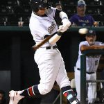 Mauricio Dubon singles in the winning run in the ninth inning in the Missions' 6-5 victory over the Memphis Redbirds on Wednesday at Wolff Stadium. - photo by Joe Alexander