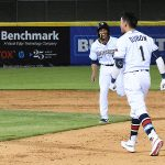 Mauricio Dubon celebrates after driving in the winning run in the ninth inning in the Missions' 6-5 victory over the Memphis Redbirds on Wednesday at Wolff Stadium. - photo by Joe Alexander