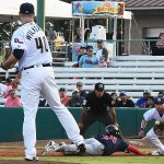 Aaron Wilkerson, Lucas Erceg. The Sounds beat the Missions 7-3 Friday night at Wolff Stadium. - photo by Joe Alexander