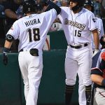 Keston Hiura, Tyrone Taylor. The Sounds beat the Missions 7-3 Friday night at Wolff Stadium. - photo by Joe Alexander