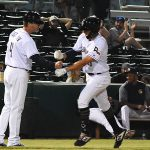 Tyrone Taylor, Ned Yost IV. The Sounds beat the Missions 7-3 Friday night at Wolff Stadium. - photo by Joe Alexander