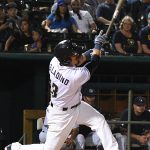 The Missions' Tyler Saladino hit an inside-the-park home run against the Sounds on Friday at Wolff Stadium. - photo by Joe Alexander