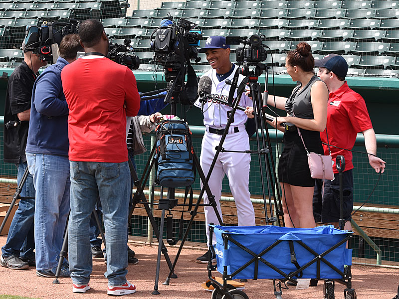 Members of the San Antonio media talk to new Missions outfielder Corey Ray on Tuesday at Wolff Stadium. - photo by Joe Alexander