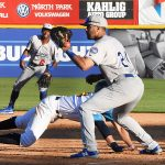 Oklahoma City Dodgers infielder Edwin Rios playing against the San Antonio Missions on Thursday at Wolff Stadium. - photo by Joe Alexander