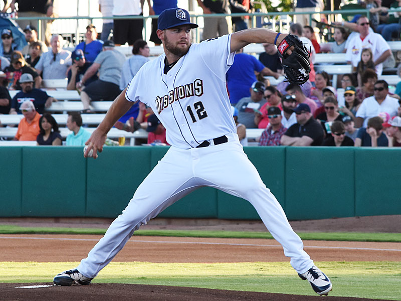 The Missions' Adrian Houser pitches against the Redbirds on April 9 at Wolff Stadium. - photo by Joe Alexander`