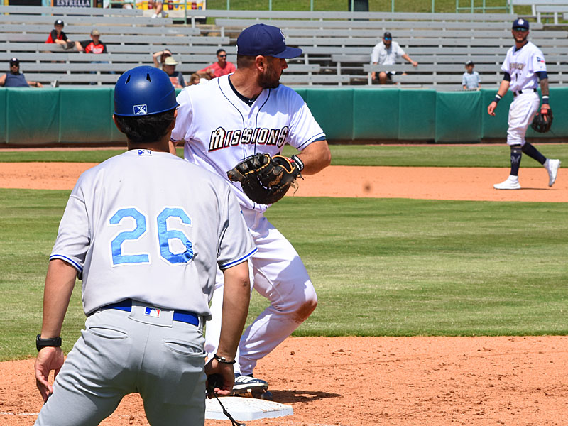 David Freitas, like all the Missions' catchers, also plays first base. - photo by Joe Alexander