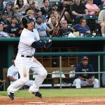 Keston Hiura doubles for his first hit of the game. The Missions beat the Oklahoma City Dodgers 4-3 Friday at Wolff Stadium. - photo by Joe Alexander