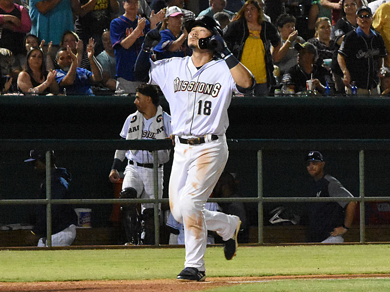 Keston Hiura celebrates as he nears home after hitting his first home run of the game in the Missions' 4-3 victory over the Oklahoma City Dodgers on Friday at Wolff Stadium. - photo by Joe Alexander