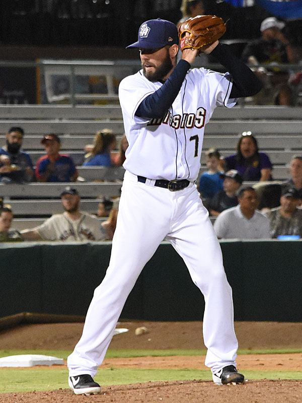 The Missions' Donnie Hart pitching against the Memphis Redbirds at Wolff Stadium on April 10. - photo by Joe Alexander