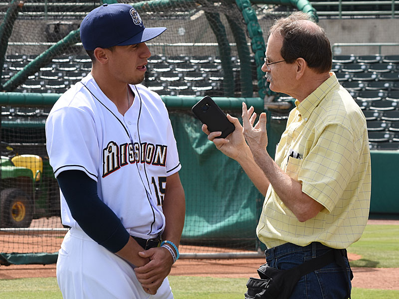 Missions outfielder Tyrone Taylor talks to Jerry Briggs on media day on Tuesday at Wolff Stadium. - photo by Joe Alexander