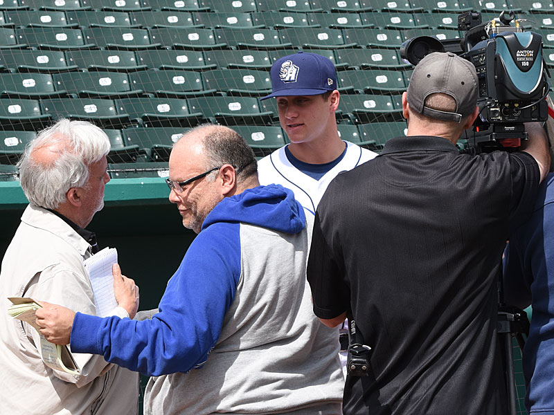 Missions pitcher Zack Brown talks to members of the media on Tuesday at Wolff Stadium. - photo by Joe Alexander