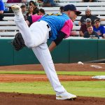 Missions pitcher Zack Brown in a Flying Chanclas uniform playing against the Memphis Redbirds at Wolff Stadium on April 11. - photo by Joe Alexander