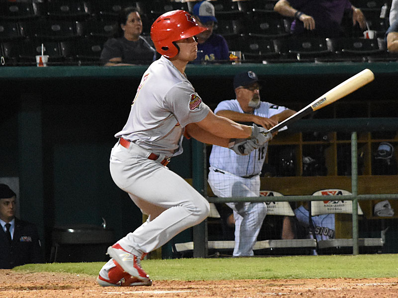 St. Louis Cardinals prospect and Memphis Redbirds outfielder Lane Thomas playing against the San Antonio Missions in April. - photo by Joe Alexander