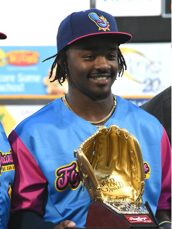 The Missions' Troy Stokes Jr. receives his Gold Glove award Thursday at Wolff Stadium. - photo by Joe Alexander