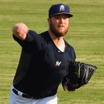 Milwaukee Brewers pitcher Jimmy Nelson in his third appearance this season with the San Antonio Missions on May 17 at Wolff Stadium. - photo by Joe Alexander