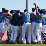 The Missions celebrate Jake Hager's game-winning hit against the Round Rock Express on Sunday at Wolff Stadium. - photo by Joe Alexander