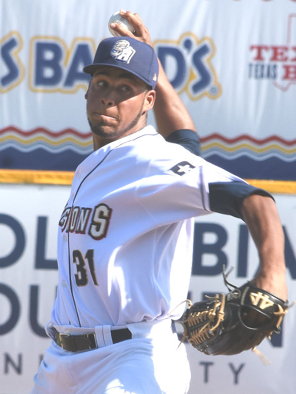 The San Antonio Missions' Miguel Sanchez pitching against the Round Rock Express on Sunday at Wolff Stadium. - photo by Joe Alexander