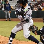New Orleans Baby Cakes second baseman Isan Diaz playing against the San Antonio Missions at Wolff Stadium. - photo by Joe Alexander