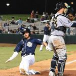Cory Spangenberg slides home with the game-winning run in the San Antonio Missions' 1-0 victory over the New Orleans Baby Cakes on Tuesday at Wolff Stadium. - photo by Joe Alexander