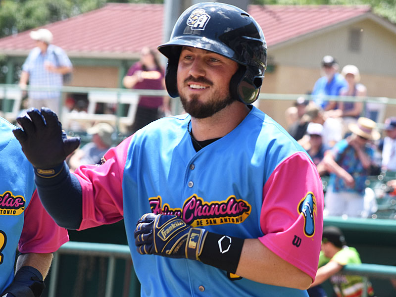 The Missions' Blake Allemand hits a fourth-inning home run against the Express. - photo by Joe Alexander