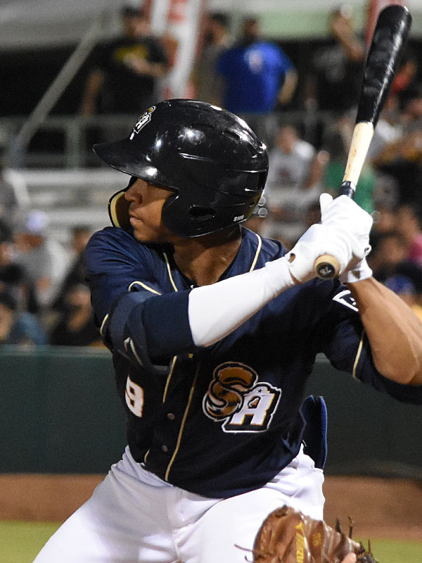 San Antonio Missions center fielder Corey Ray playing against the New Orleans Baby Cakes on Tuesday at Wolff Stadium. - photo by Joe Alexander
