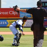 San Antonio Missions and Milwaukee Brewers catcher Jacob Nottingham playing for San Antonio this season at Wolff Stadium. - photo by Joe Alexander