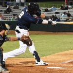 Jake Hager has the walk-off hit against the New Orleans Baby Cakes on Tuesday at Wolff Stadium - photo by Joe Alexander
