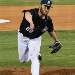 Milwaukee Brewers pitcher Jimmy Nelson playing for the San Antonio Missions on a rehab assignment on Friday at Wolff Stadium. - photo by Joe Alexander