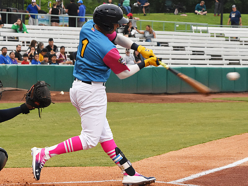 The Missions' Mauricio Dubon homers against the New Orleans Baby Cakes on Thursday at Wolff Stadium. - photo by Joe Alexander