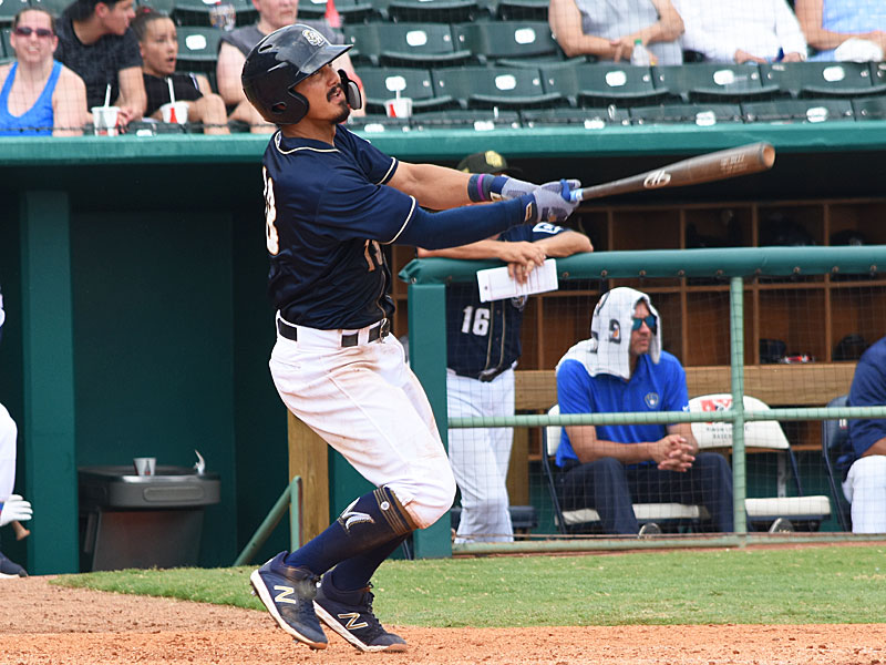 The Missions' Tyler Saladino watches his three-run homer sail over the right-field fence in the sixth inning against the Redbirds on Sunday at Wolff Stadium. - photo by Joe Alexander