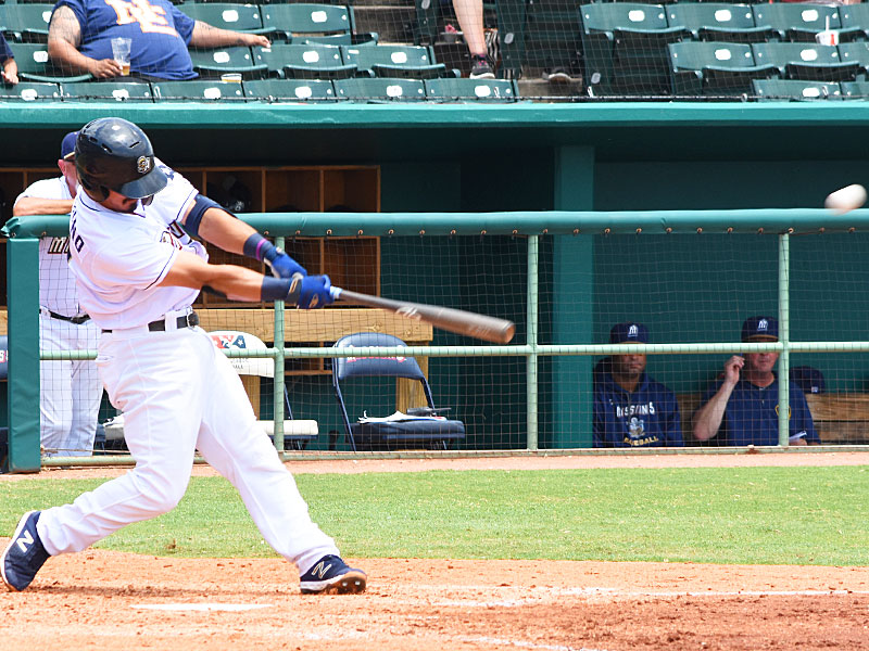Tyler Saladino hits a seventh-inning home run in the Missions' 4-0 victory over the Memphis Redbirds on Monday at Wolff Stadium. - photo by Joe Alexander
