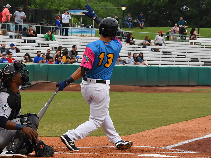 The Missions' Tyler Saladino batting against the New Orleans Baby Cakes on Thursday at Wolff Stadium. - photo by Joe Alexander