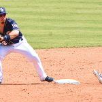The Missions' Keston Hiura gets a force out at second base on Sunday at Wolff Stadium. - photo by Joe Alexander