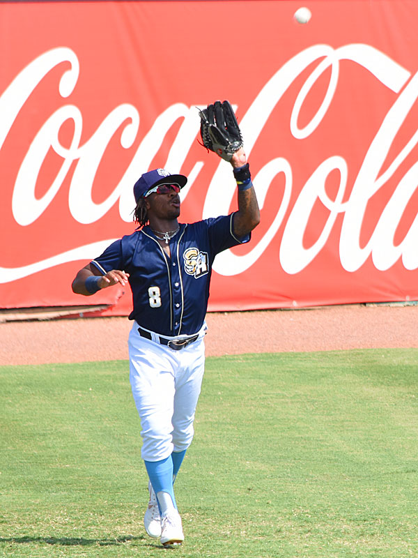 The Missions' Troy Stokes Jr. tracks down a fly ball in left field on Sunday at Wolff Stadium. - photo by Joe Alexander