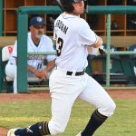 Missions pitcher Zack Brown hits an RBI double in the second inning Monday at Wolff Stadium. - photo by Joe Alexander