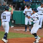 The Missions' Zack Brown and Mauricio Dubon celebrate after Dubon's second inning home run Monday at Wolff Stadium. - photo by Joe Alexander
