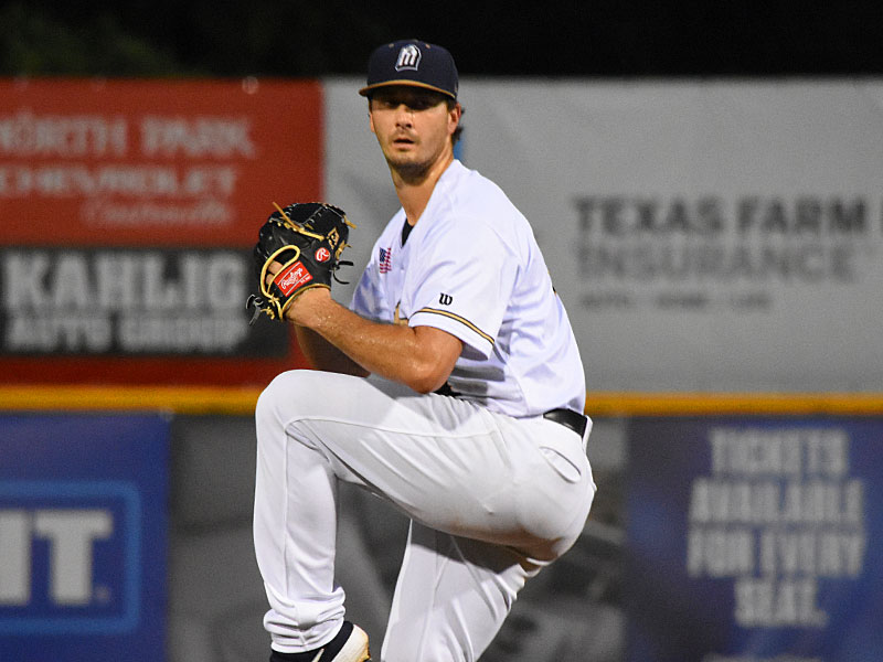 Burch Smith pitching on June 1 at Wolff Stadium in his last start with the San Antonio Missions before being called up by the Milwaukee Brewers. - photo by Joe Alexander