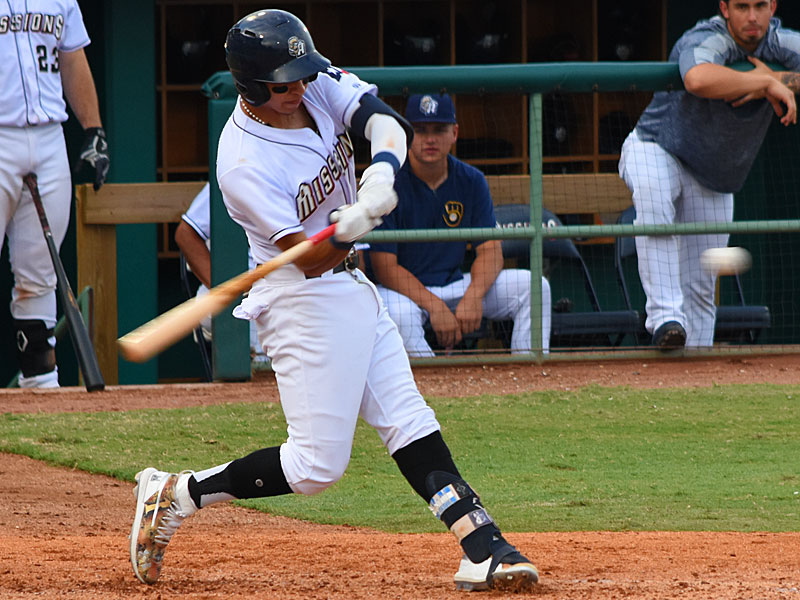 The San Antonio Missions' Mauricio Dubon hit his 12th home run of the season Sunday at Wolff Stadium, a solo shot in the fifth inning. - photo by Joe Alexander